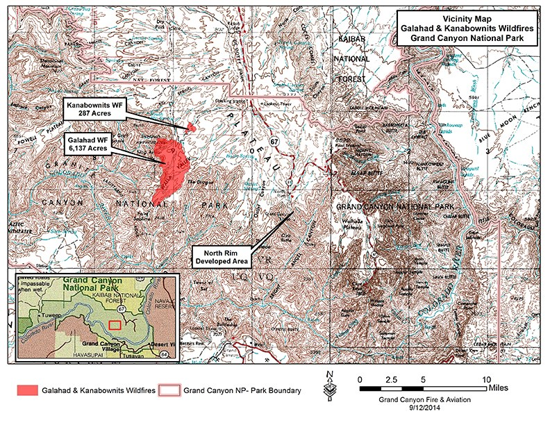 White topographic map with red shaded areas to indicate fire footprints.