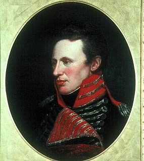 Painted portrait of a white man wearing black and red.