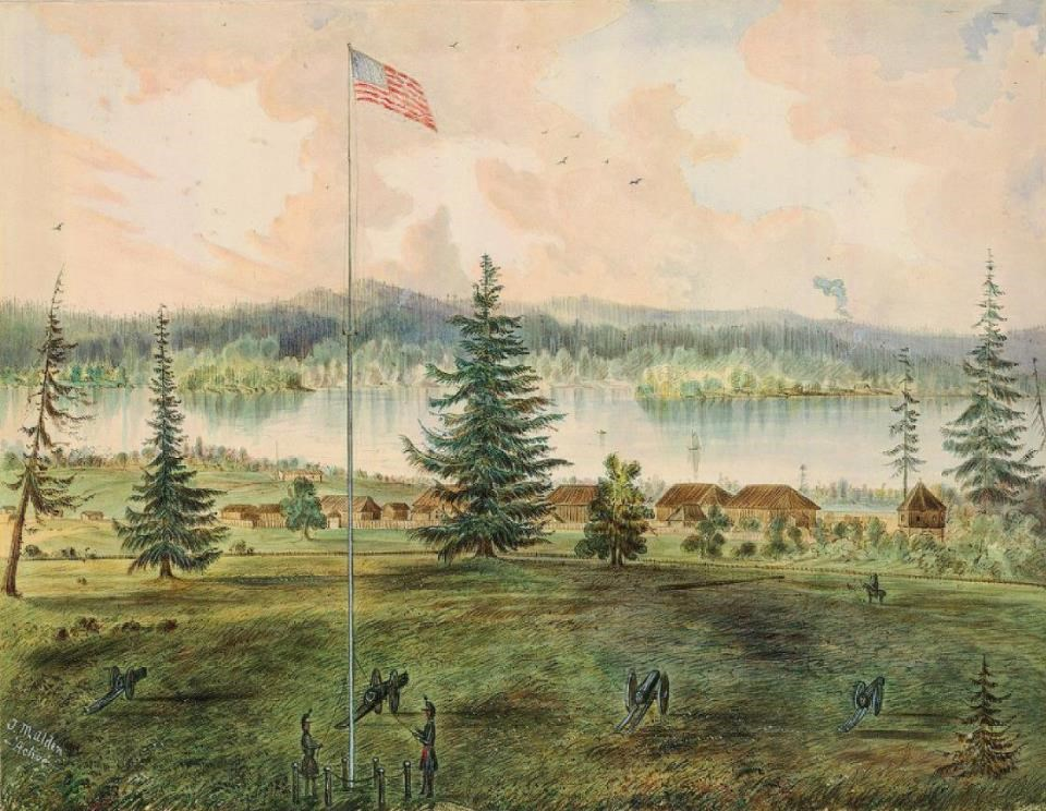 Painting of Fort Vancouver with flagstaff in foreground