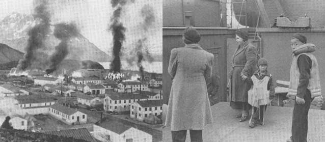 composite of two images. left image shows buildings burning near a harbor, right image shows women and children on a ship