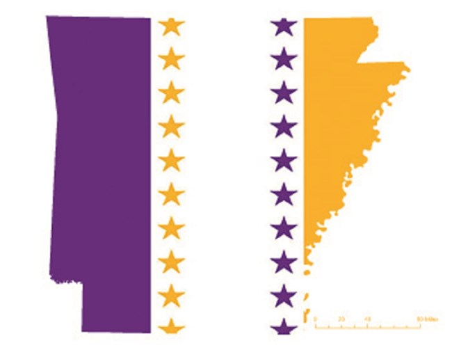 State of Arkansas depicted in purple, white, and gold (colors of the National Woman's Party suffrage flag) – indicating Arkansas was one of the original 36 states to ratify the 19th Amendment. CC0