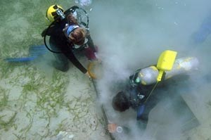 [photo] Overhead view of two divers at work on the sea floor.