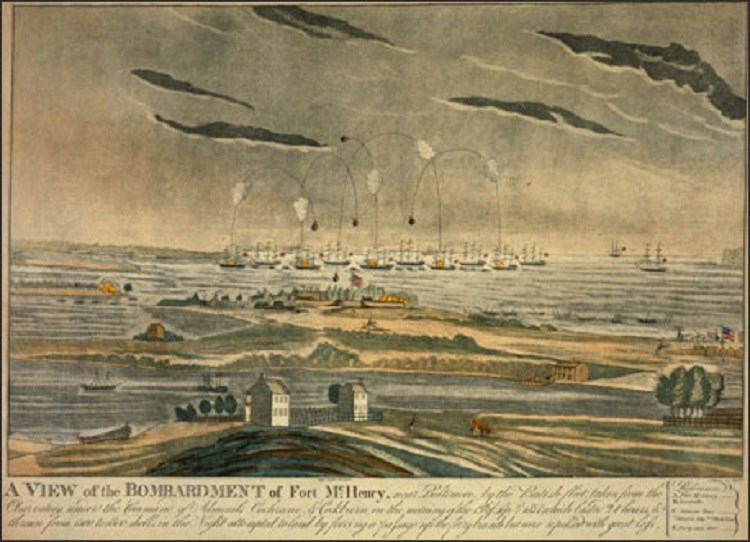 Painting of Bombardment of Fort McHenry. (Courtesy of the Maryland Historical Society)