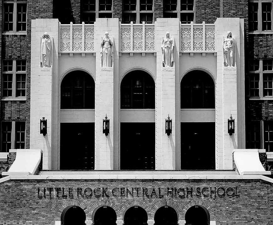 Front entrance of high school - Little Rock Central High School. (Photo by Cindy Momchilov/Camera Work, Inc.)