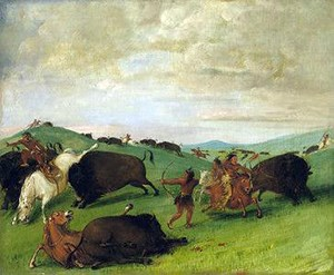 painting: bulls battling with men and horses
