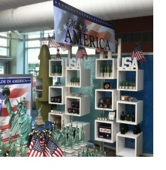 gift shop with made in america banner
