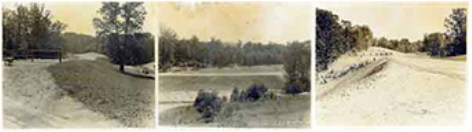3 small sepia images of fort dupont landscapes