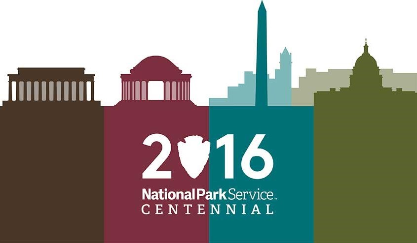 Brown, purple, blue, and green city and park silhouette graphic with the words 2016 National Park Service Centennial