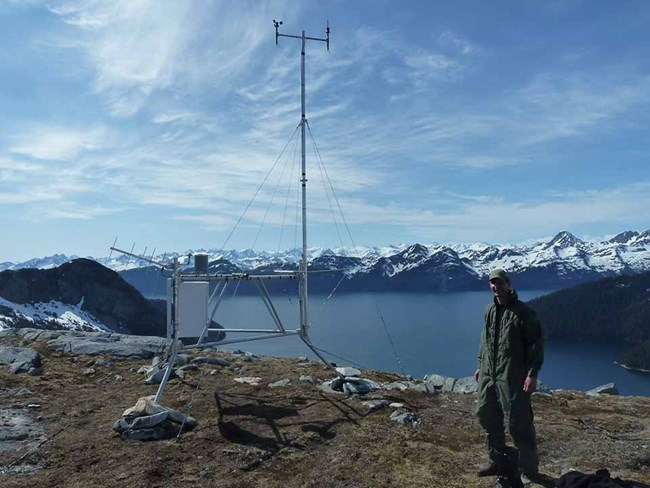 A weather station in Kenai Fjords National Park.
