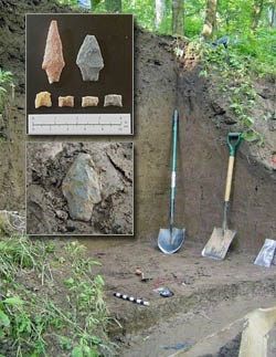 [photo] Excavated embankment, with inset showing ancient tools found onsite.