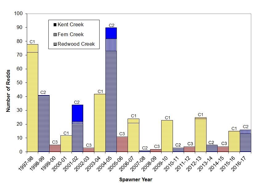 Graph of coho salmon redd numbers in the Redwood Creek watershed by cohort, winter 1997-1998 through winter 2016-2017.
