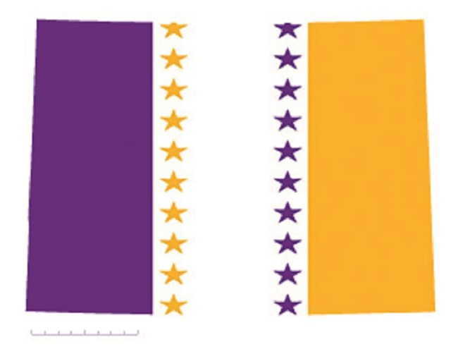 State of Colorado depicted in purple, white, and gold (colors of the National Woman's Party suffrage flag) – indicating Colorado was one of the original 36 states to ratify the 19th Amendment. CC0