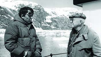William S. Cooper, (on right)  seen here with author Dave Bohn during the 1960s, worked in Glacier Bay starting in 1916. His 1922 speech to the Ecological Society of America started the process that resulted in the bay's designation as a national monument