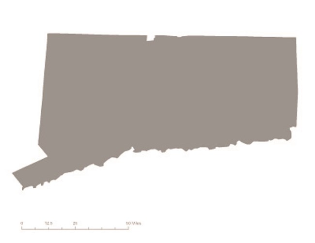 Picture of state of Connecticut in gray – indicating it was not one of the original 36 states to ratify the 19th Amendment. CC0
