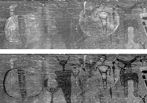 black and white images of rock art paintings. one shows the light figures highlighted, and one shows the dark figures highlighted