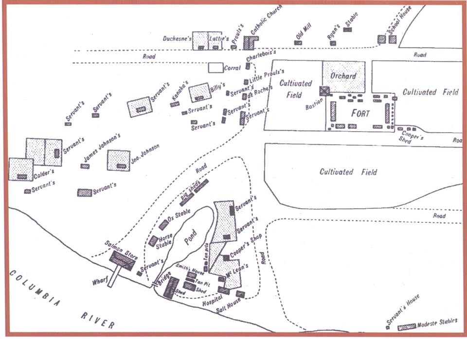 Line drawing showing the layout of buildings around the fort, including houses, and industrial buildings.
