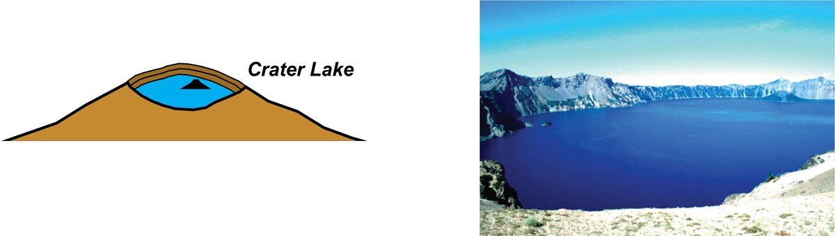 illustration and painting of crater lake