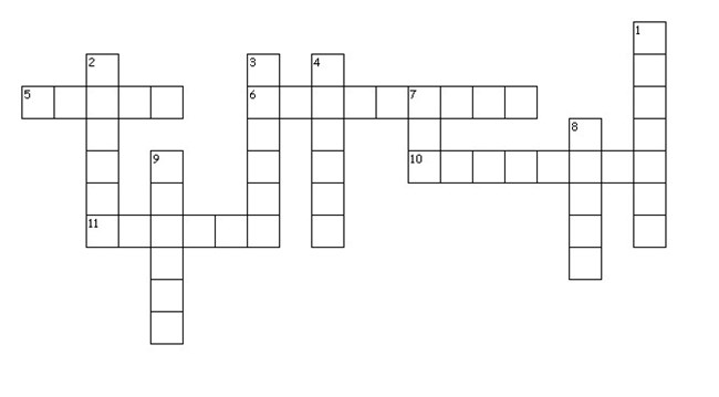 A crossword puzzle with 57 blocks arranged to create 11 words.