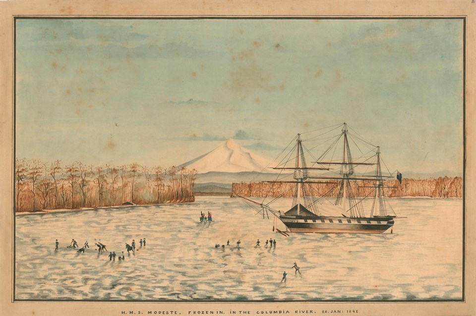 "Drawing titled ""HMS Modeste Frozen in the Columbia River 26 Jan. 1847"" shows a frozen river with tall ship stuck in the ice. Mount Hood rises in the background. On the ice, groups of people play curling and ice skate."
