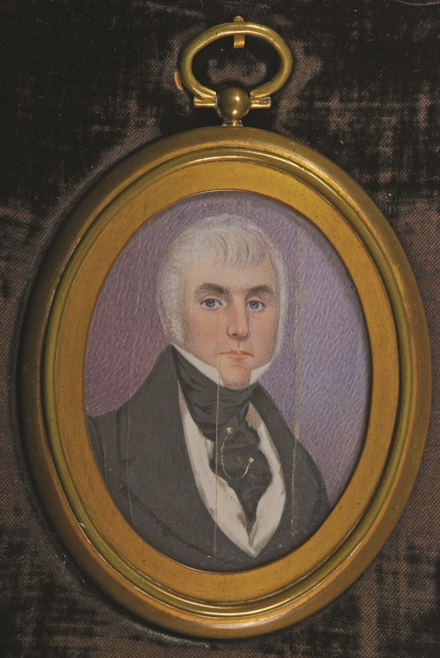 Painted portrait of man with white hair wearing suit