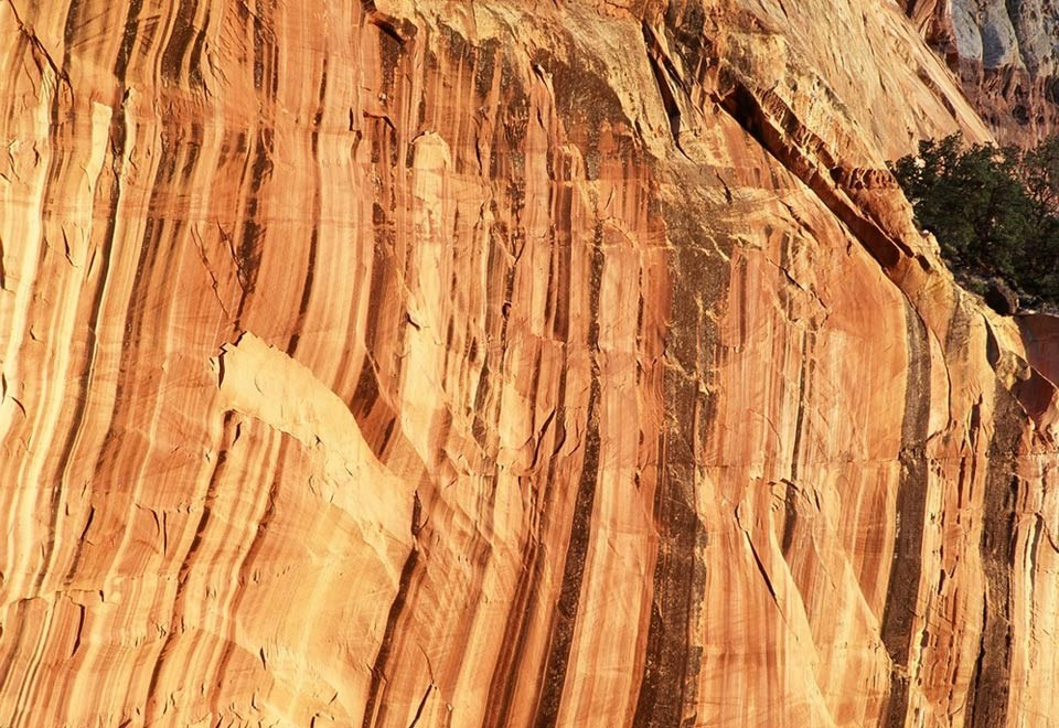 black streaks of desert varnish on a red rock wall