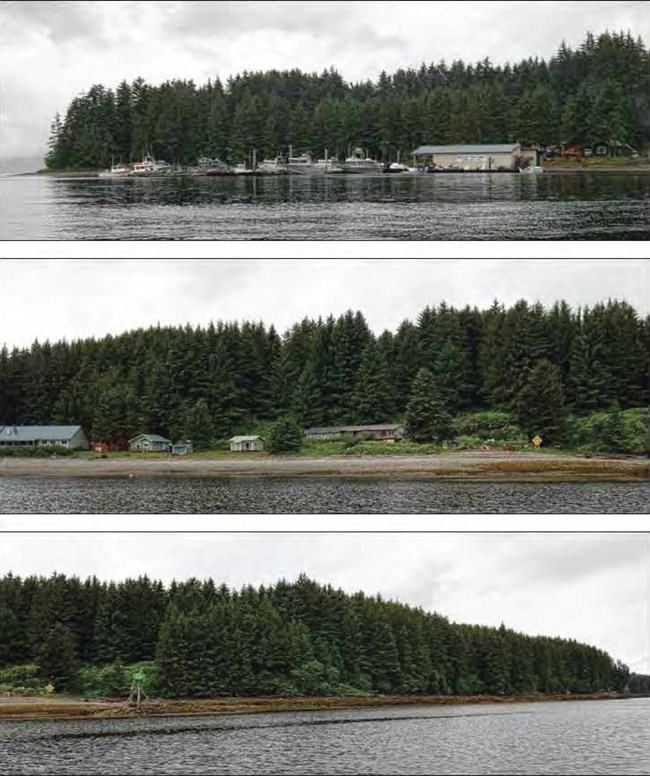 Composite of three images viewed from the water. Top: building and harbor. Middle: small buildings among trees. Bottom: trees along the shore.