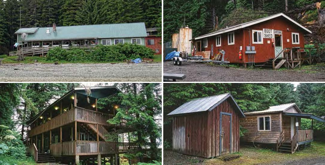 "Composite of four images: Top: long building with a green roof and a red building with sign ""boot shed"". Bottom: Two story building with balconies and two small wooden buildings."