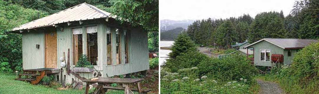 Composite of two images. Left: Green shack. Right: small green buildings among the trees.