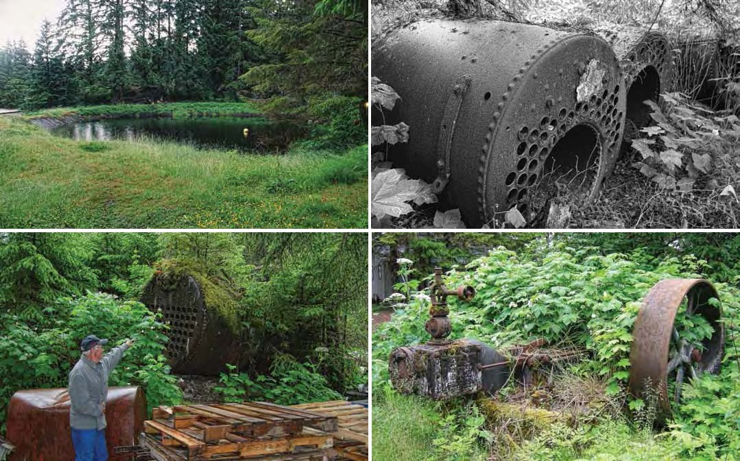 Composite of four images. Top left: pond in a grassy area. Top right: black and white boiler. Bottom left: a man pointing to a boiler covered in moss. Bottom right: metal wheel mounted on mossy concrete.