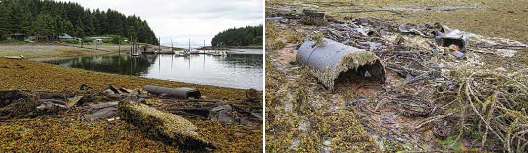 Composite of two photos. Both show rusted metal items in an intertidal area. In the left photo a harbor is in the background. In the right, a barrel is visible.