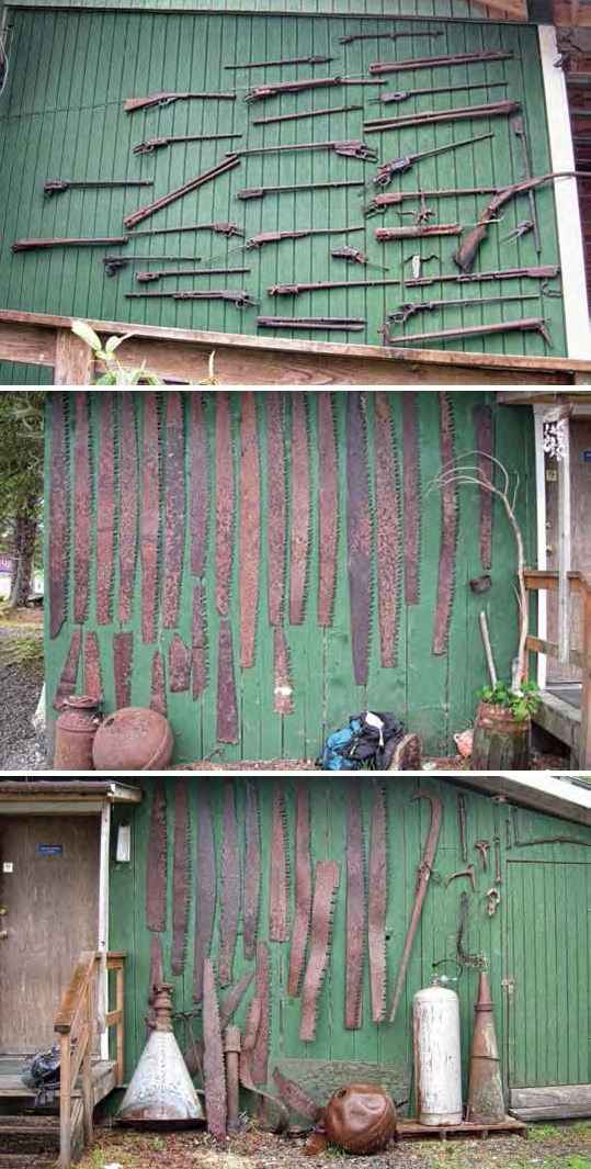 Composite of three images all show metal items including saws and guns on the outside of painted green buildings.