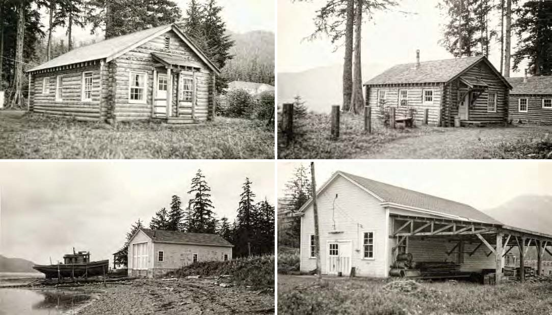 Composite of 4 black and white images top row two log cabins; bottom two large framed buildings.