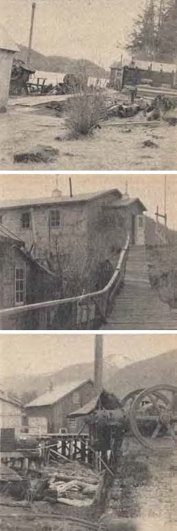 Composite of three black and white images. Top to bottom: small buildings along a path; a large building at the top of stairs; a large building with a smokestack and wheel.