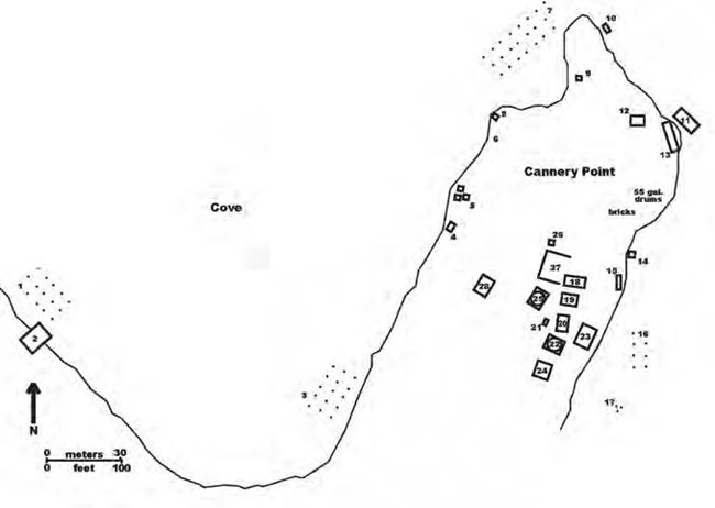 Line drawn map showing a cove and buildings on a peninsula.