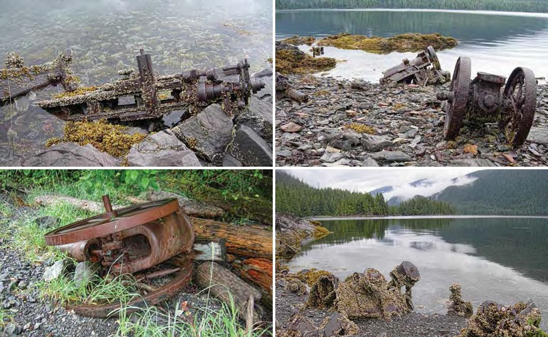Composite of 4 photos. All four show rusted metal with wheels and gears and barnacles on the edge of water.