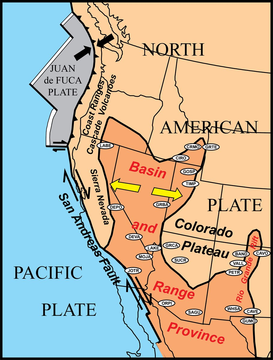 map of southwest u.s. showing basin and range province and san andreas fault