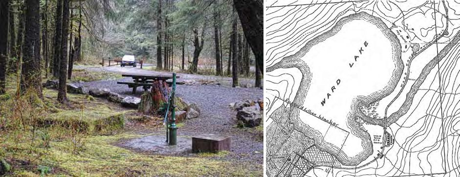 Composite image: left: forested picnic area with car in background. Right: line drawing map of Ward Lake area