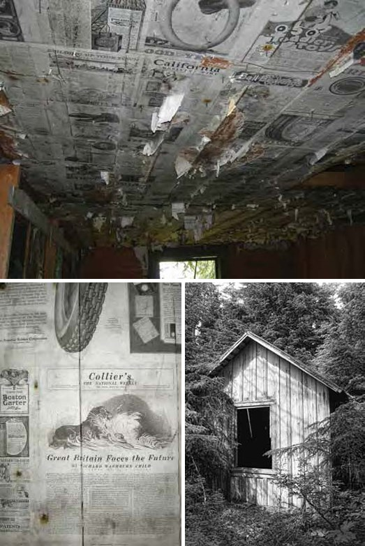 Composite of three images showing old newspaper lining walls and ceiling and a small wooden shack.