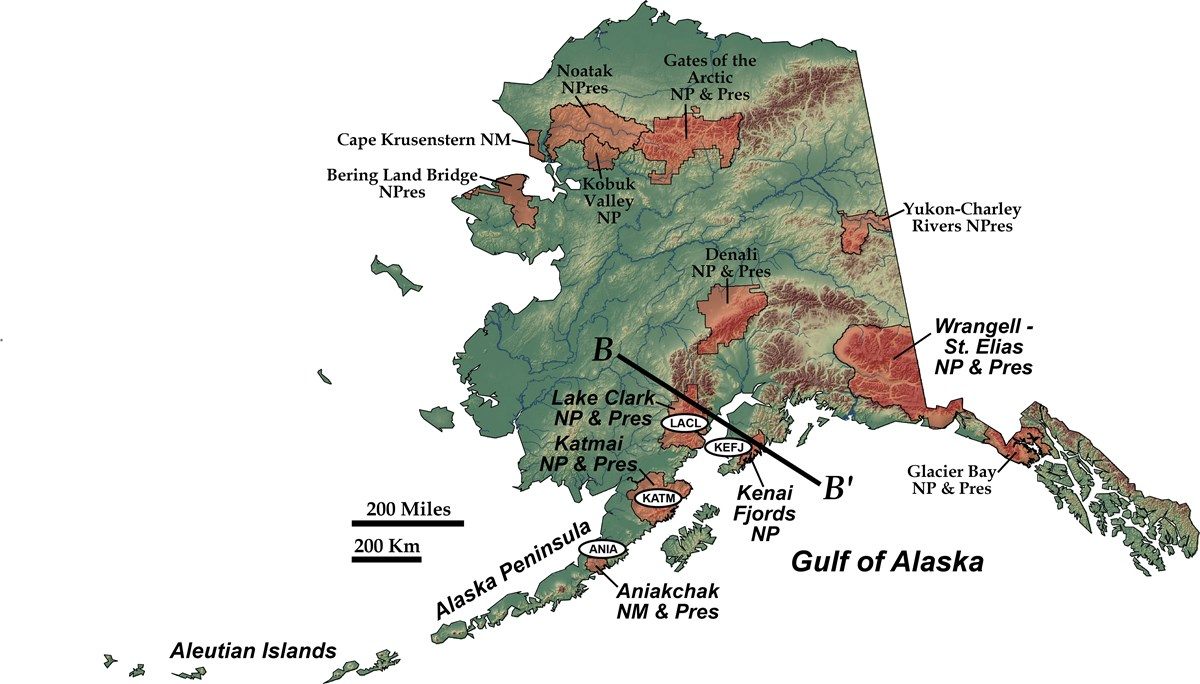 shaded relief map of alaska showing nps units