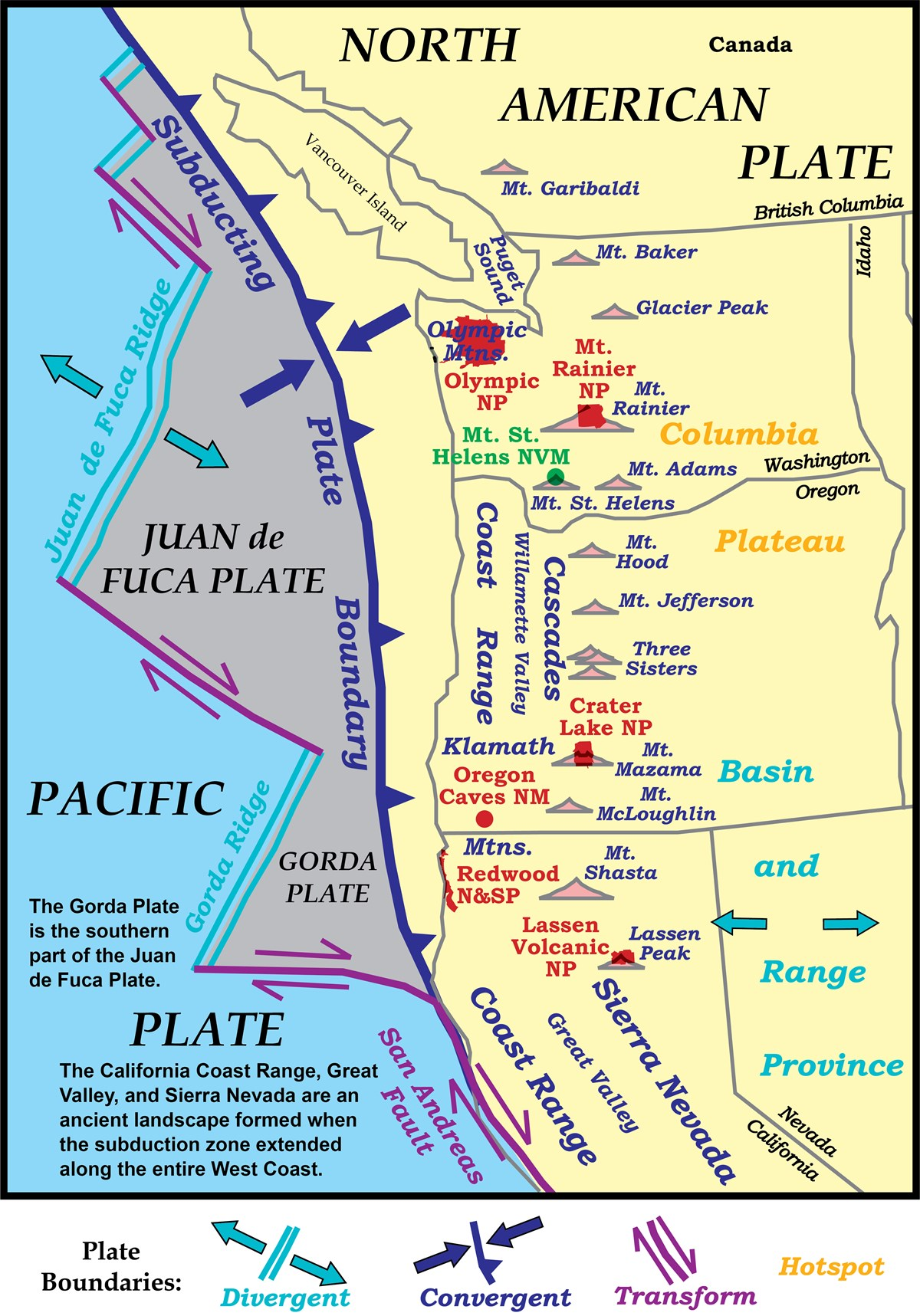 map of the northwest united states showing tectonic plates and volcanoes