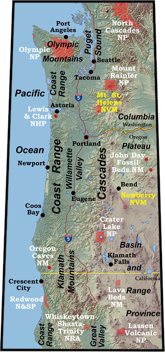 topographic map of the pacific northwest