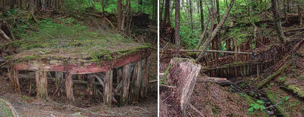 Composite of two images of abandoned water supply tank in the woods