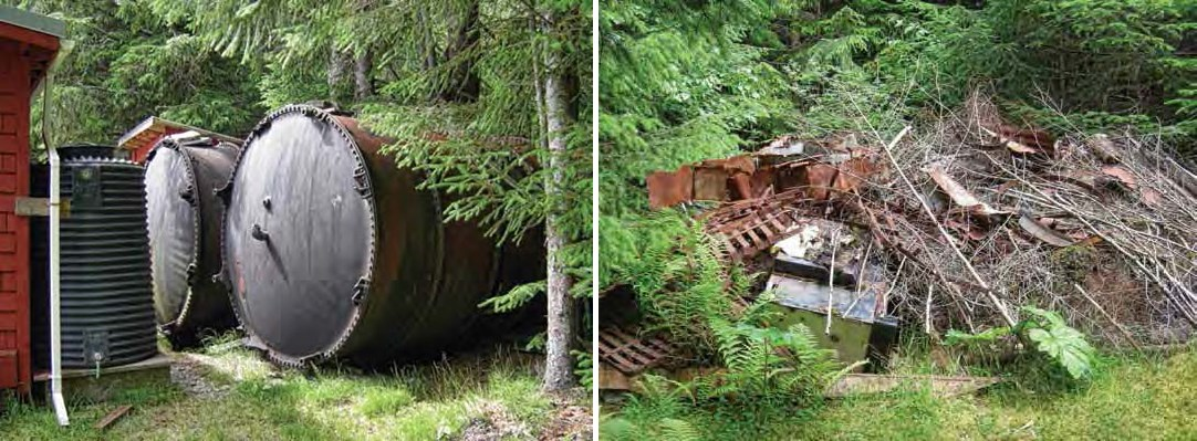 Composite of two images. Left: Large metal tanks. Right: Collapsed structure remains.