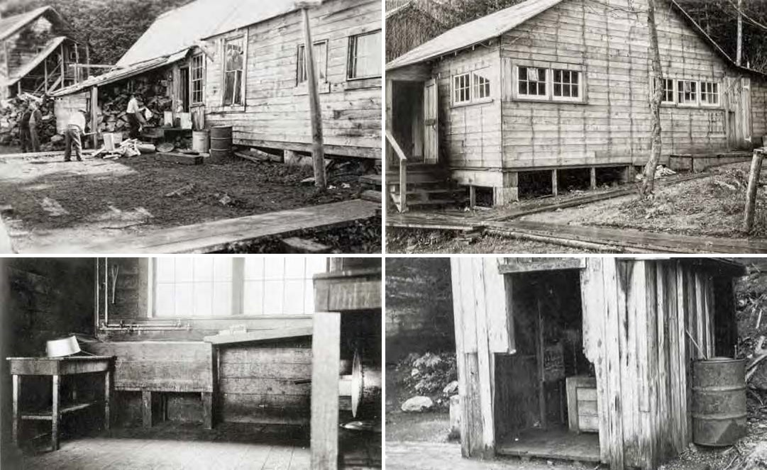 Composite of four black and white images. Top: two photos of wooden buildings with boardwalks. Bottom: interior shot and outhouse photo.