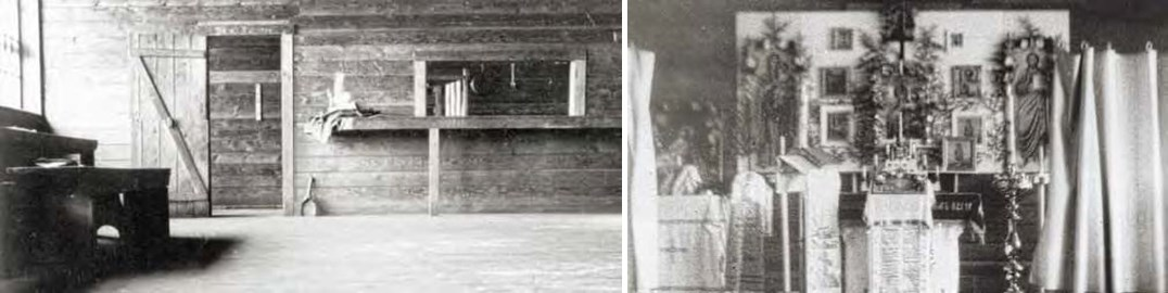 Composite of two black and white photos. Left: mostly empty interior. Right: highly decorated alter
