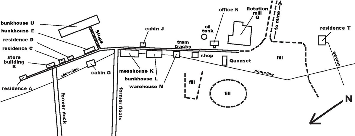 Black and white map showing location of cabins, bunkhouses, residences, warehouses, shops, etc along a road