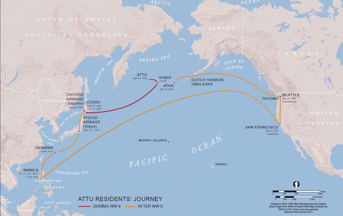 Map Of Pacific Ocean Showing Attu Residentu0027s Journey During And After WWII