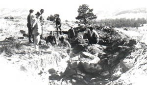 Photograph of George Wieland supervising a crew of workers excavating fossil cycadeoids in Fossil Cycad National Monument.