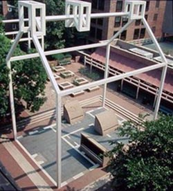 "[photo] Overhead view of steel ""ghost structure"" delineating Franklin's house."