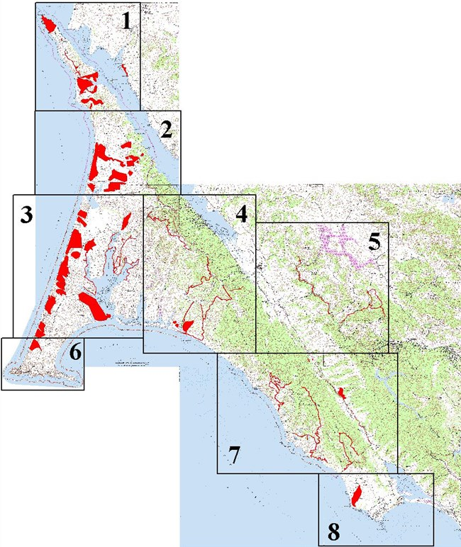 Map showing that rare plant surveys occur throughout Point Reyes National Seashore.